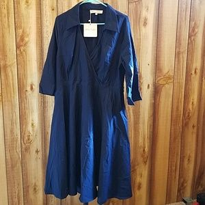 Modcloth Certain Stylist Collared Navy Blue Dress